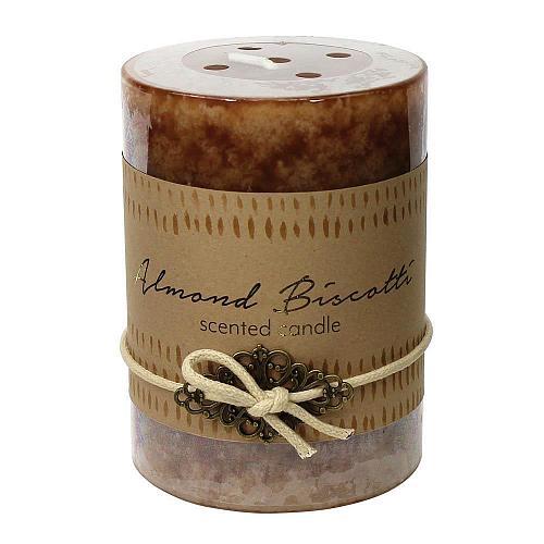 :10923U - 2ct Almond Biscotti Scented Tri-color Brown Pillar Candle 3x4