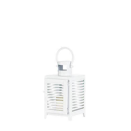 """*18091U - White Metal Horizon 9 1/2"""" Pillar Candle Lantern"""