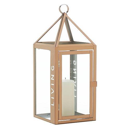 """*18355U - Large 17.5"""" Rose Gold Metal Living Cutout Pillar Candle Lantern"""