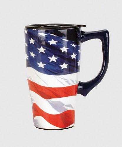 :10488U - American Flag 16oz Ceramic Travel Mug