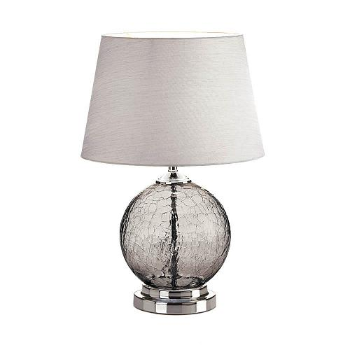 *18358U - Gray Smoked Cracked Glass Globe Table Lamp w/Shade