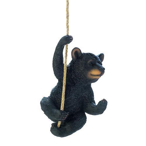 *18450U - Hanging Rope Black Bear Décor Figure Statue