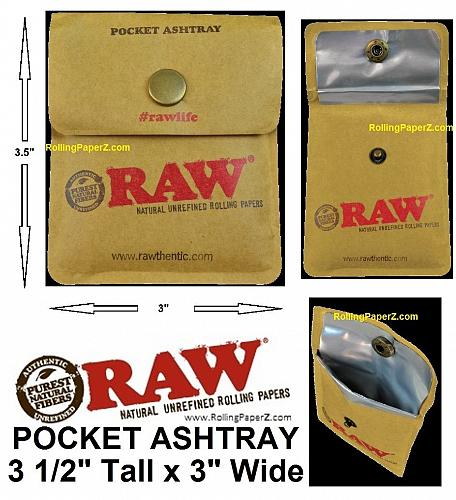 NEW RAW Rolling Papers Brand Pocket/Purse Ashtray or Snap Travel Cigarette Case