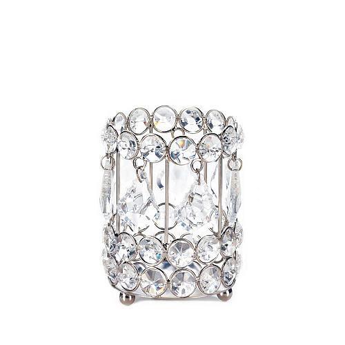 """*18136U - Crystal Drop 4"""" Silver Iron Pillar Candleholder"""