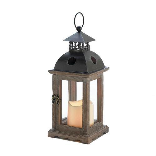 "*18497U - Small 12"" Monticello Lantern LED Pillar Candle Holder"
