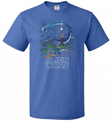 Alien Wars Unisex T-Shirt Pop Culture Graphic Tee (4XL/Royal) Humor Funny Nerdy Geeky