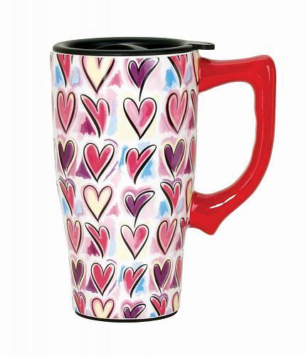 :10567U - Hearts Pattern 16oz Ceramic Travel Mug
