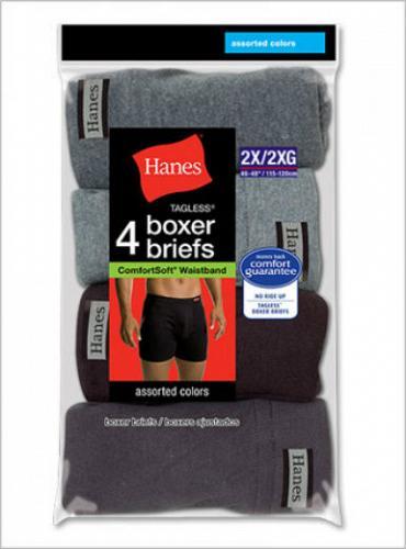 8 Pair Hanes Mens TAGLESS Boxer Briefs ComfortSoft Waistband #7460P48