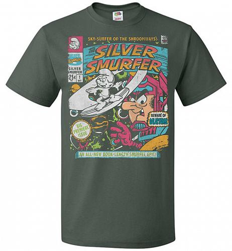 Silver Smurfer Unisex T-Shirt Pop Culture Graphic Tee (S/Forest Green) Humor Funny Ne