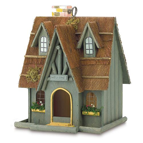 29312U - Thatched Cottage Decorative Wood Birdhouse