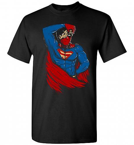 Superman Deadpool Mashup Unisex T-Shirt Pop Culture Graphic Tee (S/Black) Humor Funny