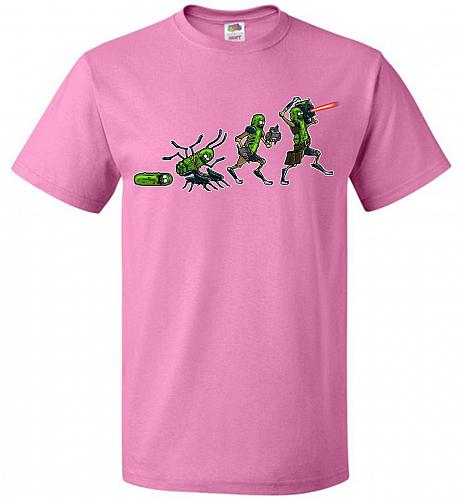 Pickle Rick Evolution Unisex T-Shirt Pop Culture Graphic Tee (3XL/Azalea) Humor Funny