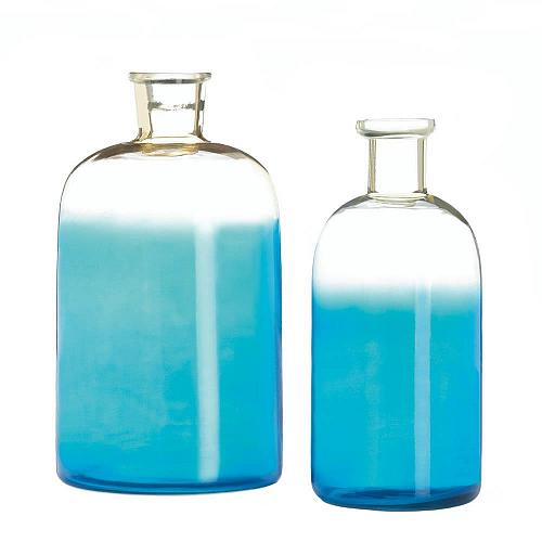 *17607U - Blue Glass Bottle Narrow Neck Vase Set