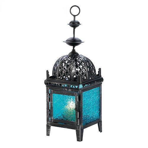 *17759U - Blue Medallion Pressed Glass Metal Pillar Candle Lantern