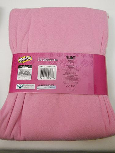 Pajama Set Girls 2PC Flannel SHOPKINS Pink Size 10/12 Scoop Neck Long Sleeves