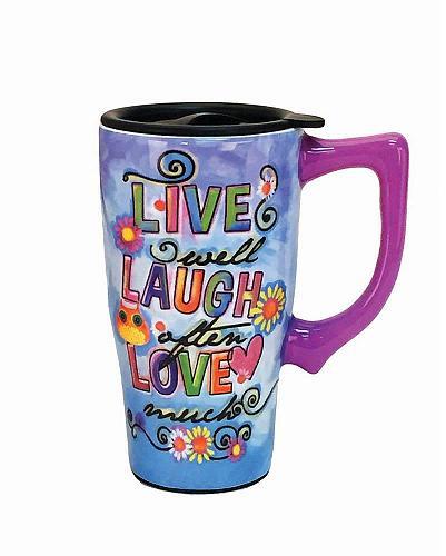 :10578U - Live Laugh Love 16oz Ceramic Travel Mug