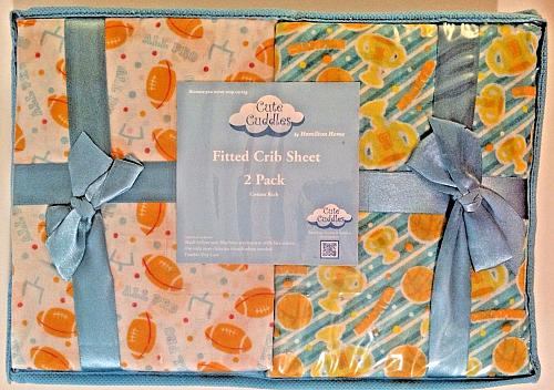 Cute Cuddles Sports Themed 2 Pack Fitted Crib Sheets in zippered case NIP