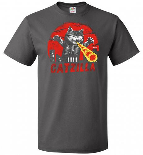 Catzilla Unisex T-Shirt Pop Culture Graphic Tee (M/Charcoal Grey) Humor Funny Nerdy G