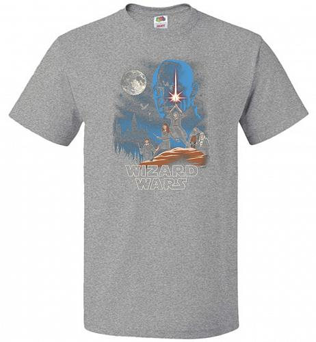 Wizard Wars Unisex T-Shirt Pop Culture Graphic Tee (2XL/Athletic Heather) Humor Funny
