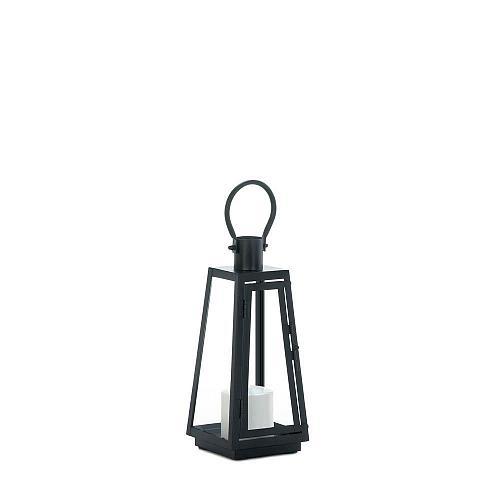 "*18350U - Small 11.5"" Black Iron Exploration Pillar Candle Lantern"