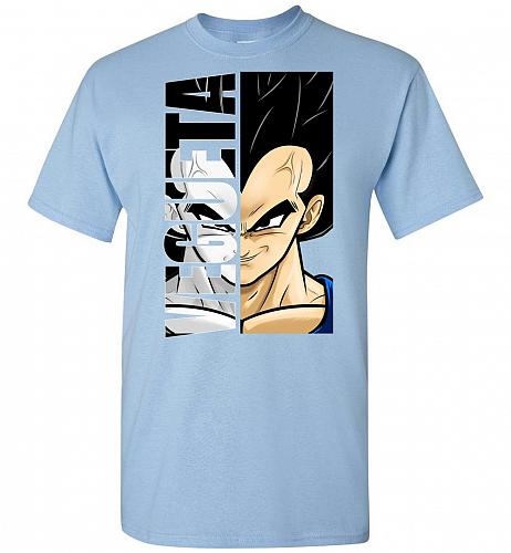 Vegeta Unisex T-Shirt Pop Culture Graphic Tee (2XL/Light Blue) Humor Funny Nerdy Geek