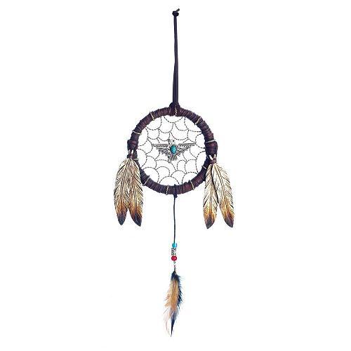 *18470U - Pheonix Turquise Bead Feather Dreamcatcher Wall Decoration