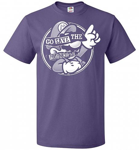 Go Save The Princess Unisex T-Shirt Pop Culture Graphic Tee (5XL/Purple) Humor Funny