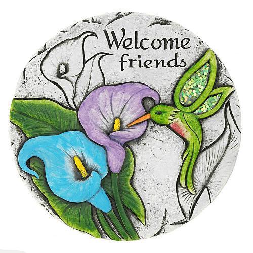 """*18541U - Welcome Friends Hummingbird 10"""" Garden Stepping Stone"""