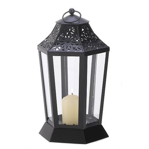 13930U - Midnight Garden Cutwork Iron Candle Lantern Glass Panels