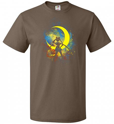 Moon Art Unisex T-Shirt Pop Culture Graphic Tee (2XL/Chocolate) Humor Funny Nerdy Gee