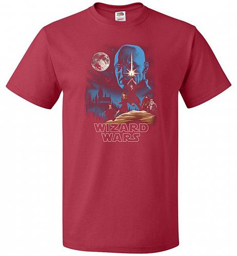 Wizard Wars Unisex T-Shirt Pop Culture Graphic Tee (L/True Red) Humor Funny Nerdy Gee