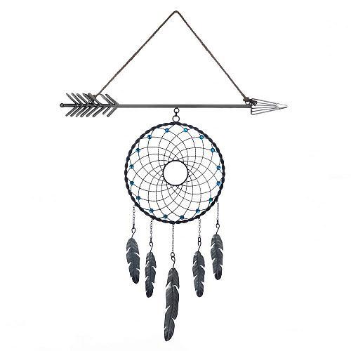 *18375U - Arrow Plaque Blue Bead Dreamcatcher Wall Decoration