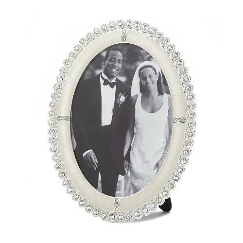 *16934U - Rhinestone Shine Oval Picture Frame Holds 5x7 Photo