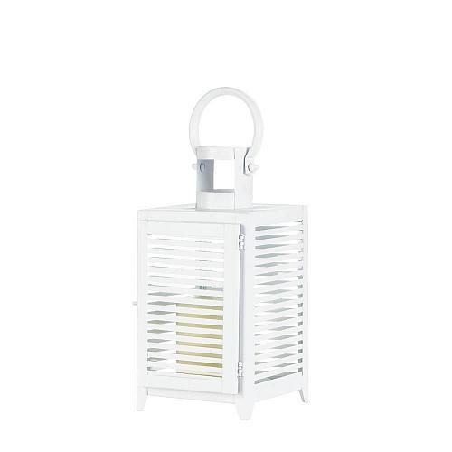 """*18089U - White Metal Horizon 12 1/4"""" Pillar Candle Lantern"""