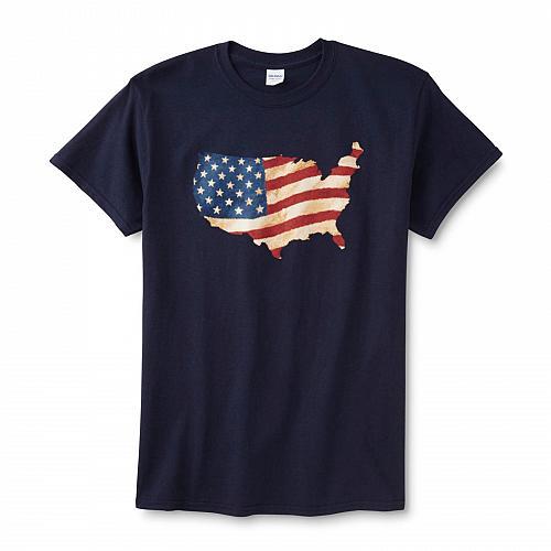 Men's Graphic T-Shirt America SiIhouette Flag Patriotic Tee Shirt M L XL Tshirt