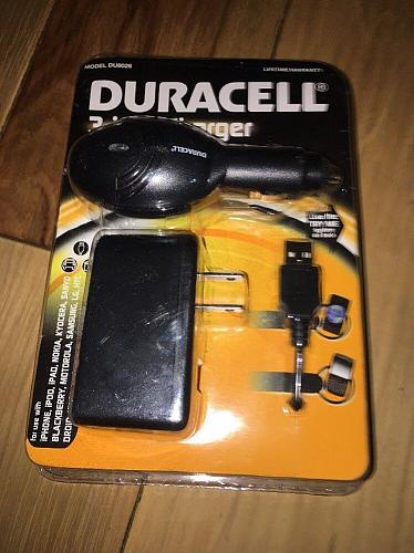 DURACELL 3-IN-1 CELL PHONE WALL & CAR CHARGER - DU8026 - USE WITH MOST DEVICES