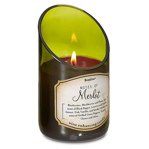 :10624U - Wine Bottle Green Glass Merlot Scented Soy Blend Candle