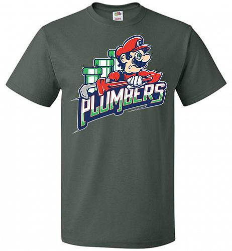 Plumbers Unisex T-Shirt Pop Culture Graphic Tee (S/Forest Green) Humor Funny Nerdy Ge