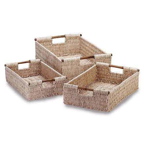 34622U - Corn Husk Woven Nesting Baskets Bamboo Handles