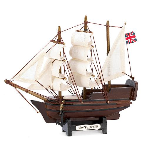 14750U - Historical Miniature Mayflower Ship Model Wood Cotton