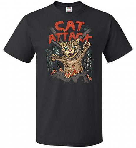 Cat Attack Unisex T-Shirt Pop Culture Graphic Tee (2XL/Black) Humor Funny Nerdy Geeky