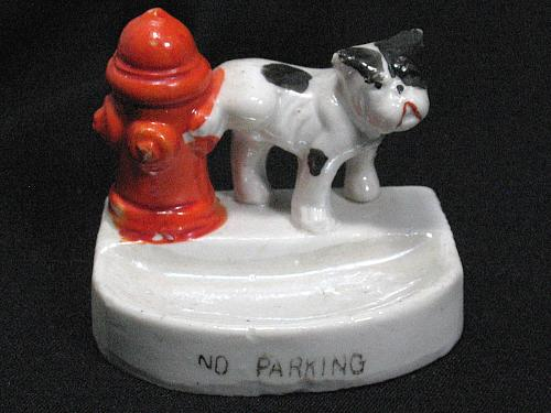 Vintage Porcelain Dog Peeing on Hydrant Figural Ashtray Snuffer Japan No Parking
