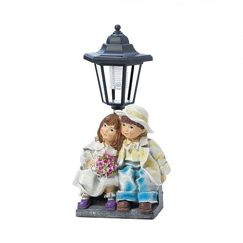 "*18277U - Young Couple Beneath Street Light Garden Statue 12 3/4"" Solar Light"