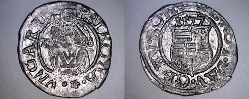 1577-KB Hungary 1 Denar World Silver Coin - Madonna with Child - Rudolf II
