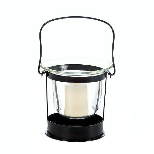 :10740U - Clarity Black Iron Votive Candle Glass Cup Lantern