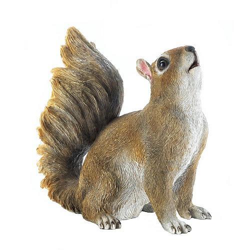 *17887U - Bushy Tail Brown Squirrel Figurine Yard Art