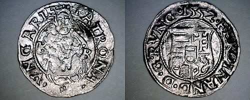 155Z-KB Hungary 1 Denar World Silver Coin - Madonna with Child - Ferdinand I