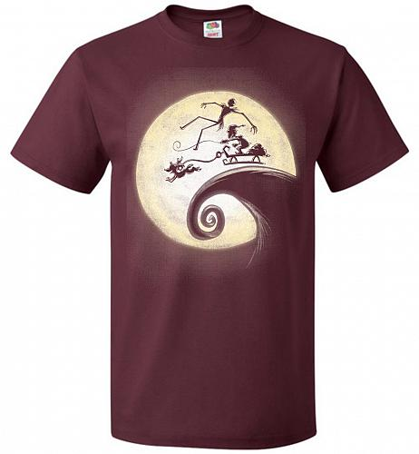 Nightmare Before Grinchmas Unisex T-Shirt Pop Culture Graphic Tee (5XL/Maroon) Humor