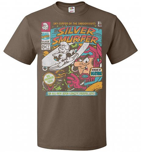 Silver Smurfer Unisex T-Shirt Pop Culture Graphic Tee (M/Chocolate) Humor Funny Nerdy