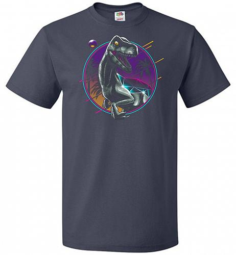 Rad Velociraptor Unisex T-Shirt Pop Culture Graphic Tee (XL/J Navy) Humor Funny Nerdy